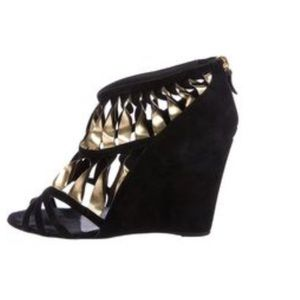 Chanel gold black suede leather twisted wedges